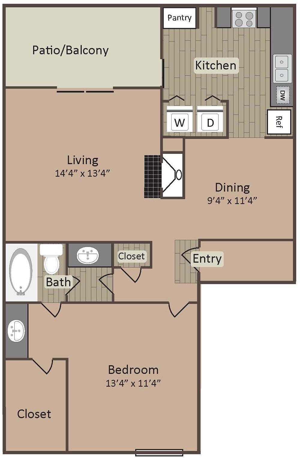 1 Bed 1 Bath 788 Square Feet